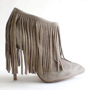 Matiko Kacie Suede Fringe Boots Taupe Size 38/8M
